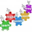 Learn From Mistakes Move Forward words on gears and people marching — Stock Photo #48127689