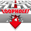 Loophole word in 3d letters on a maze with arrow crashing through the wall — Stock Photo #48127999