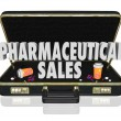 Pharmaceutical Sales 3d words in a black leather briefcase — Stock Photo #48128445