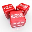 Policy, Process and Procedure words on three red dice — Stock Photo #48128521