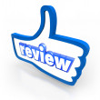 Review word on a blue thumbs up symbol — Stock Photo #48128819