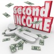 Second Income words and money falling around a person — Stock Photo #48129059