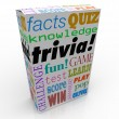 Trivia word on a box or package for a game — Stock Photo