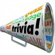 Trivia words on a bullhorn or megaphone to quiz — Stock Photo #48129495