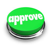 Approve word on a round green button — Stock Photo