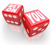 Bet On You words on two red dice — Stock Photo