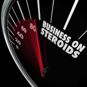 Business on Steroids word on a speedometer — Stock Photo