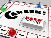 Career word on a board game and pieces — Stock Photo