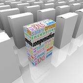 Compensation total package words on a box among many competing employers — Stock Photo