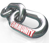 Community word on chain links — Stock Photo