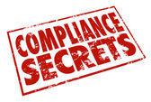 Compliance Secrets word in red stamp — Stock Photo