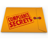 Compliance Secrets words on a yellow envelope — Stock Photo