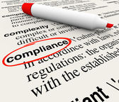 Compliance word circled in a dictionary — Stock Photo