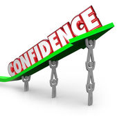 Confidence word lifted on arrow — Stock Photo