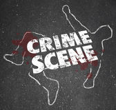 Crime Scene words on a chalk outline of a dead body — Stock Photo