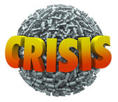 Crisis word in 3d letters on a ball or sphere of exclamation points — Stock Photo