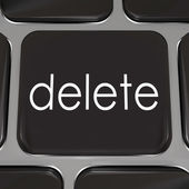 Delete Key on a black computer keyboard key — Stock Photo
