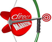 Direct Marketing words on an arrow pulled back — Stock Photo