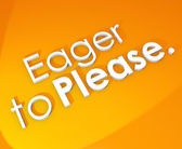 Eager to Please 3d words on an orange background — Stock Photo