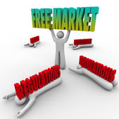 Free Market words lifted by a business person — ストック写真