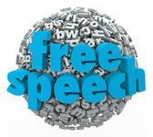 Free Speech words on a ball of 3d letters — Stock Photo