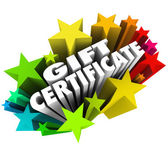 Gift Certificate words surrounded by colorful stars — Stock Photo