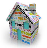Construction related words on a 3d house or home — Stock Photo