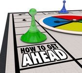 How to Get Ahead words on a board game with pieces — Stock Photo
