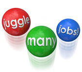 Juggle Many Jobs words on three balls in the air — Stock Photo