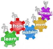 Learn From Mistakes Move Forward words on gears and people marching — Stock Photo