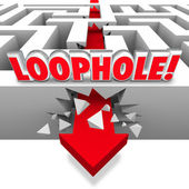 Loophole word in 3d letters on a maze with arrow crashing through the wall — Stock Photo