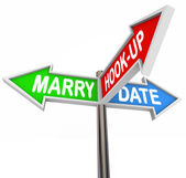 Marry, Date and Hook Up words on three arrow signs — Stock Photo