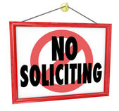 No Soliciting sign in a home or business window — Stock Photo