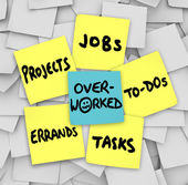 Overworked word on sticky notes with projects, jobs, to-dos, tasks and errands — Stock Photo