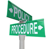 Intersection of Policy and Procedure on two green 2-way street signs — Stock Photo