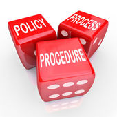 Policy, Process and Procedure words on three red dice — Stock Photo