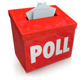 Poll word on a red collection box for votes — Stock Photo