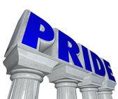 Pride word on stone marble columns — Stock Photo