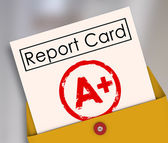 Report Card with A or Plus stamped on it within a yellow envelope — Stock Photo