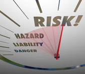 Risk, Hazard, Liability and Danger words on a speedometer — Stock Photo