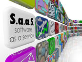 Saas Software as a Service words on an application — Stock Photo