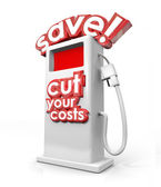 Save and Cut Your Costs 3d words on a gas station — Stock Photo