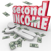 Second Income words and money falling around a person — Stok fotoğraf