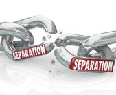 Separation word on chain links breaking — Stock Photo