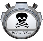 Skull Crossbones on Stopwatch Timer — Stock Photo