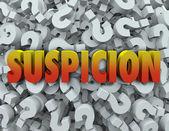 Suspicion Woron Question Mark Background — Stock Photo