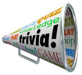 Trivia words on a bullhorn or megaphone to quiz — Stock Photo