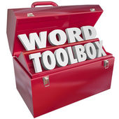 Word Toolbox 3d letters in a red metal container — Stock Photo