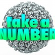 Take a Number words on a ball — Photo