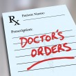 Doctor's Orders Prescription Medicine Health Care Form — Stock Photo #50105207